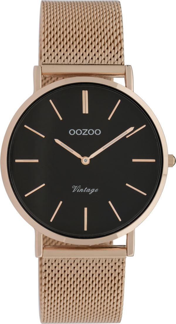 OOZOO Vintage Uhr Roségold/Schwarz 36mm