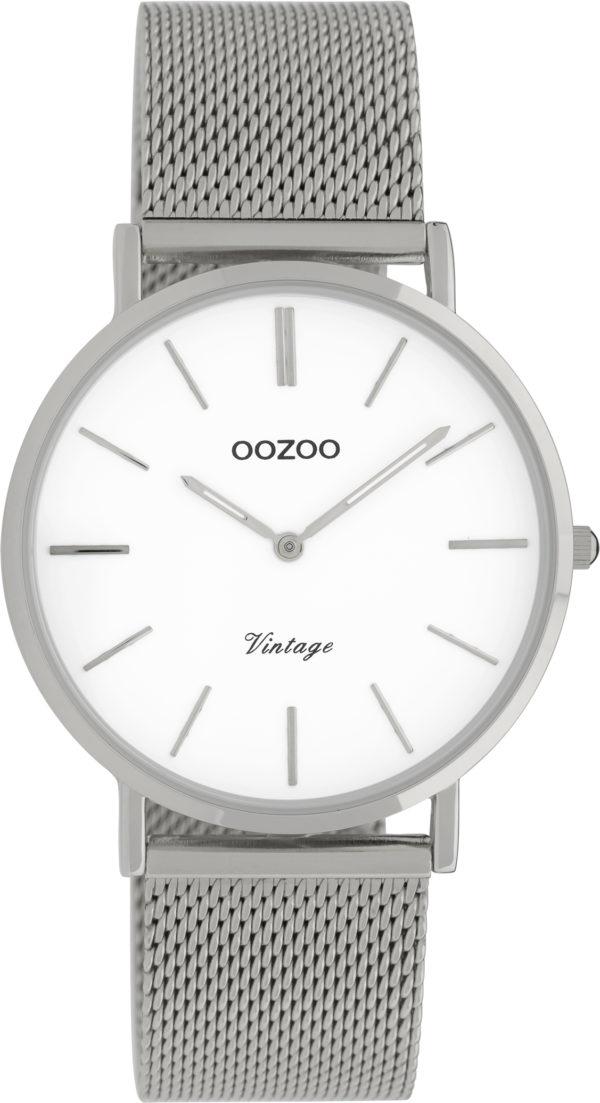 OOZOO Vintage Uhr Silber/Weiß 36mm