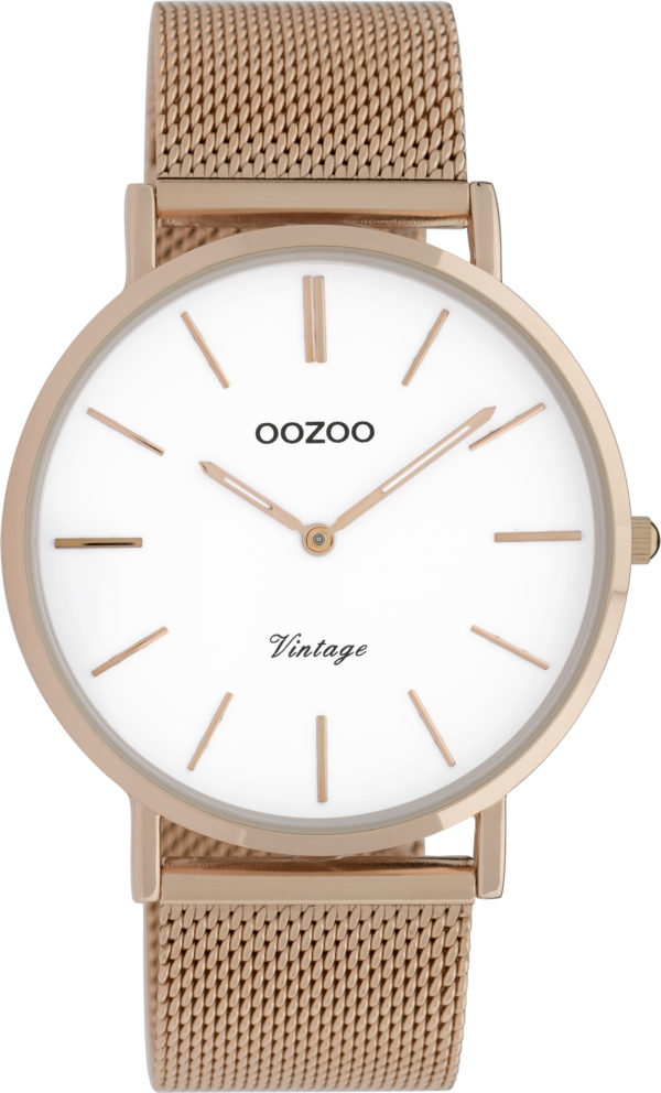 OOZOO Vintage Uhr Roségold/Weiß 40mm