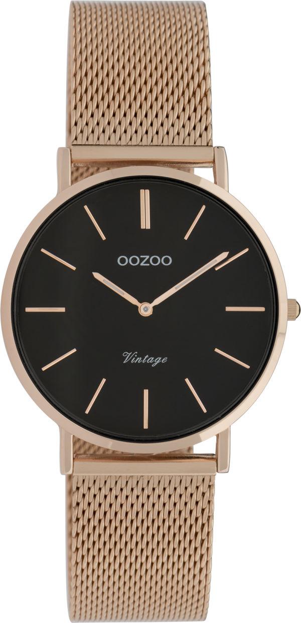 OOZOO Vintage Uhr Roségold/Schwarz 32mm
