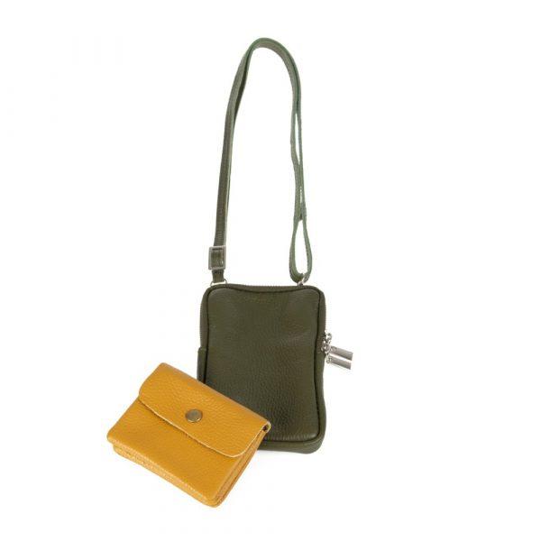 Handytasche mit kleiner Geldbörse Leder