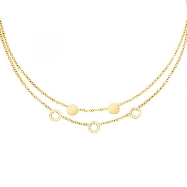Plättchen Halskette zweireihig