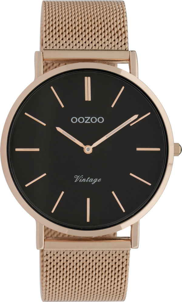 OOZOO Vintage Uhr Roségold/Schwarz 40mm