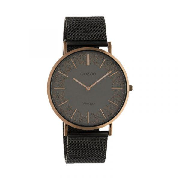 OOZOO Vintage Uhr Schwarz/Kupfer 40mm