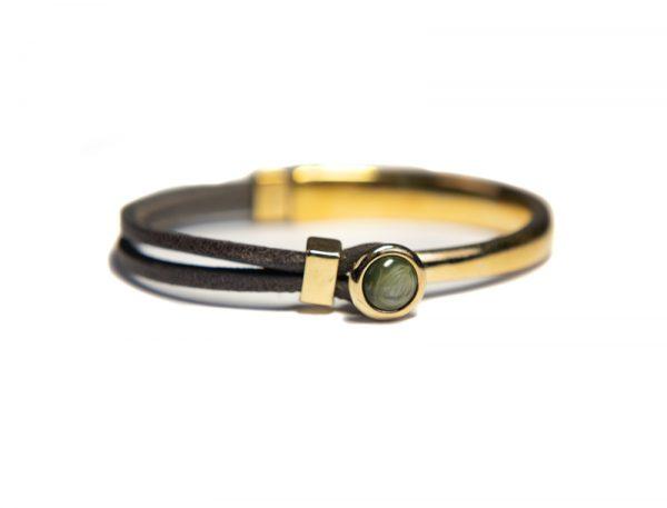 Qoss Armband Eva Gold Vintageschwarzes Leder